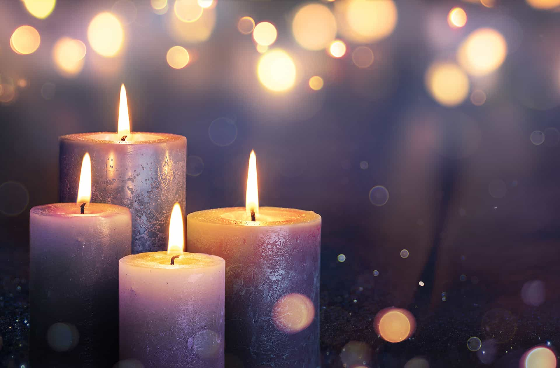 candle on a purple background