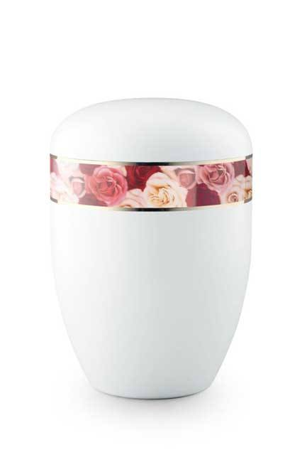white urn with floral band