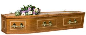 Veneered Oak Coffin with half round on the lid